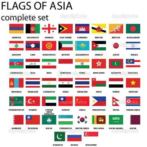 flags of the world ranked asian continent flags complete set in original colors