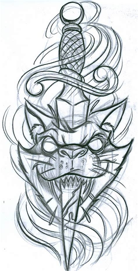 cat knife tattoo cat with dagger cats tattoo design art flash pictures
