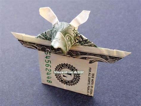 Money Hat Origami - rabbit in hat money origami trick magic dollar bill