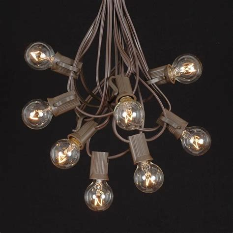 Clear G30 Globe Round Outdoor String Light Set On Brown Brown String Lights