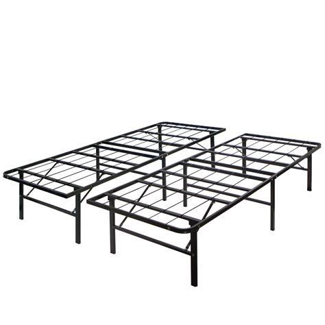 modern king size bi fold folding platform metal bed frame mattress foundation ebay