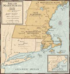 Massachusetts Bay Colony Map by New England Colonies In 1677 National Geographic Society