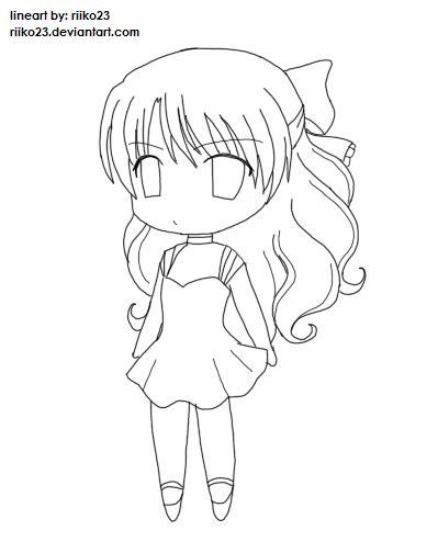 anime chibi girl lineart by riikochan artworks on deviantart