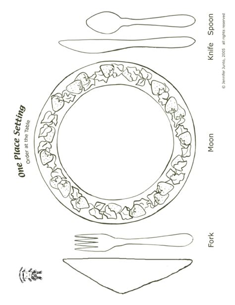 table setting template table place setting coloring page coloring pages