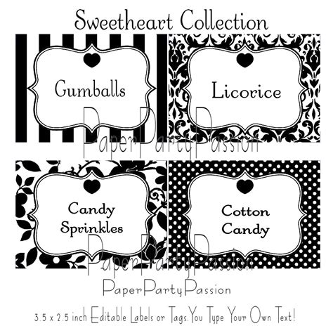 Candy Buffet Printable Editable Party Labels Or Tags Black And White Pdf Files You Type Your Labels Template Free