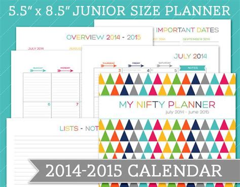 july 2015 printable calendar planner july 2014 june 2015 dated calendar planner 5 5 x 8 5
