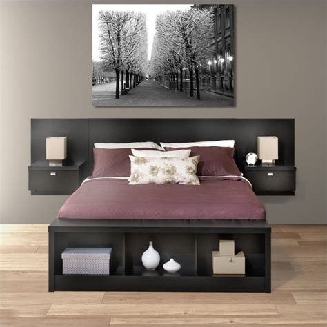 Headboard With Storage by Platform Storage Bed With Floating Headboard In Black