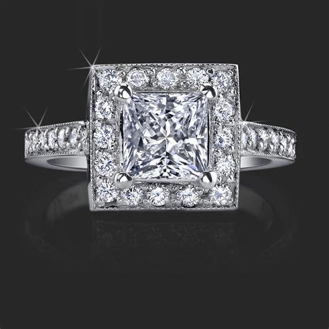 in diamond square a low set princess cut diamond halo ring with round pave diamonds bbr399 unique engagement