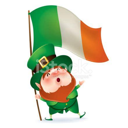 leprechaun holding flag of ireland stock photos