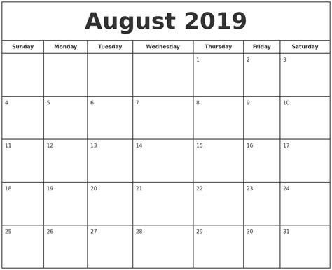 printable online calendar 2019 august 2019 print free calendar