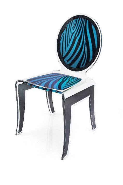 chaise zebre chaise acrylique z 232 bre bleu acrila