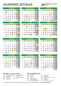 Calendar 2018 Brasil Calend 193 2018 Para Imprimir Feriados