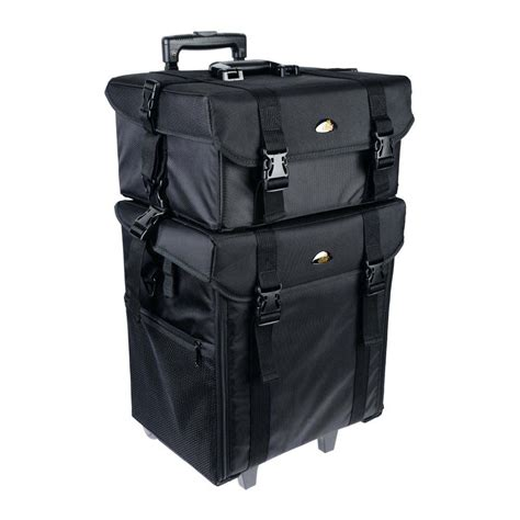 Set 2in1 Meisy Black soft makeup artist rolling trolley cosmetic with free set of mesh bags jet black shany