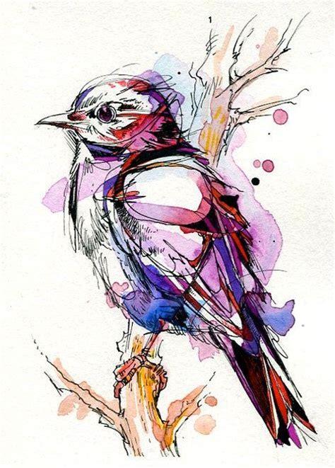 geometric watercolor bird in purple color tattoo design