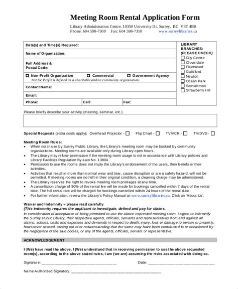 conference room request form template sle room rental agreement 8 exles in word pdf