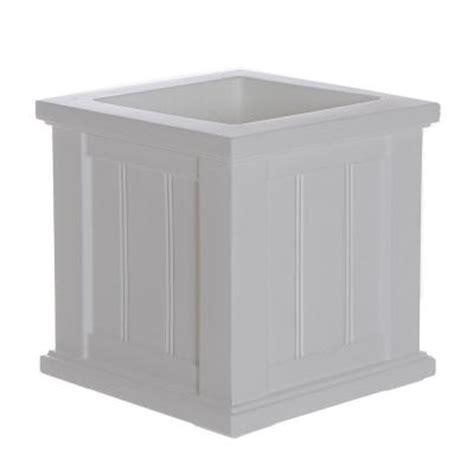 mayne cape cod 14 in square white plastic planter 4836 w
