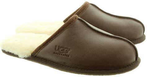 mens leather scuff slippers ugg scuff mens slippers in brown leather in brown leather