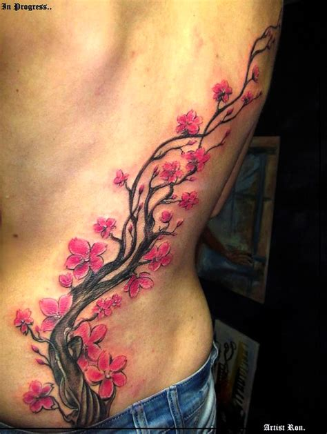 tattoo flower tree cherry blossom flower tree tattoo on behance