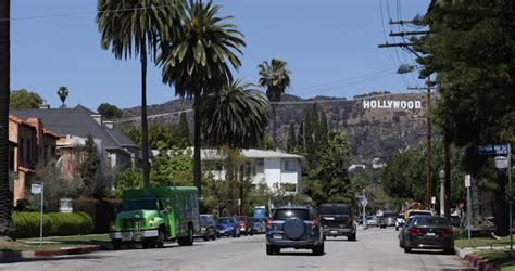 hollywood sign from street los angeles usa april 15 2013 los angeles usa car