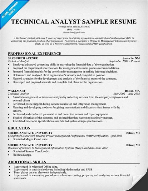 analyst sle resume technical analyst resume sle 28 images technical