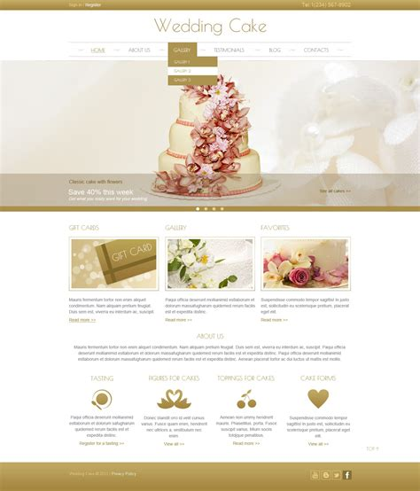 cake websites wedding cake joomla template 44444