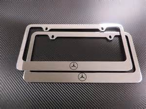 Mercedes License Plate Holder 2 Mercedes Logo Cl Sl S Chrome Metal License Plate