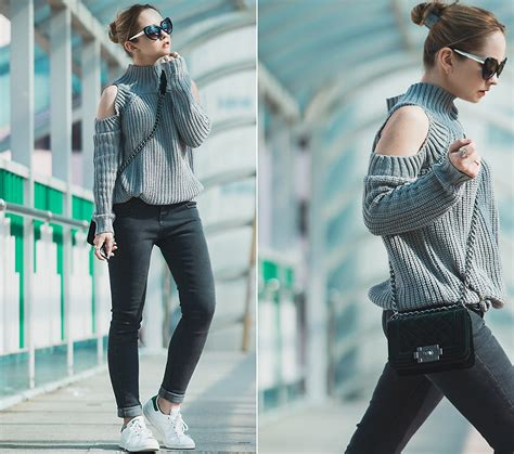 Switer Adidas 2 olga choi adidas stan smith sneakers choies cold shoulder sweater cold shoulder lookbook