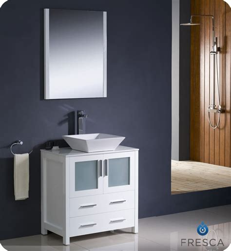 Fresca Torino 30 Quot White Modern Bathroom Vanity Vessel Sink Modern Bathroom Cabinets Vanities