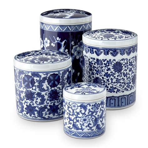 williams sonoma blue and white 3 piece ceramic canister blue white ceramic canisters williams sonoma