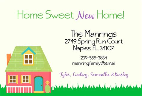 home sweet new home change of address card moving