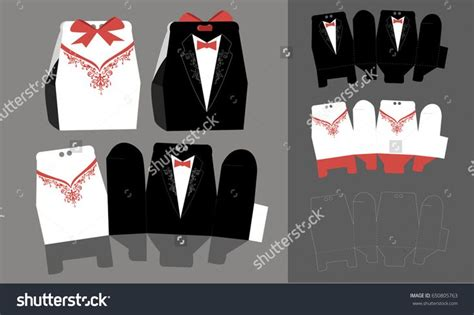 Bride And Groom Paper Bonbonniere Candy Box Vector Box Template Tuxedo And Bridal Dress For Paper Tuxedo Template
