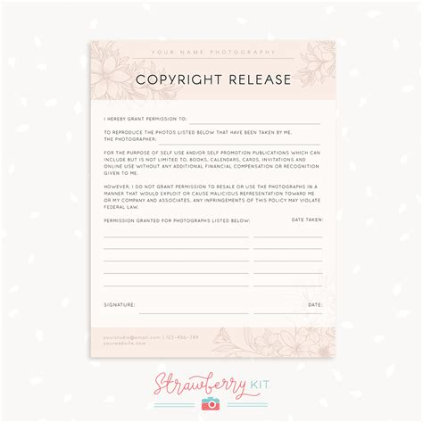 copyright release template copyright release form template strawberry kit