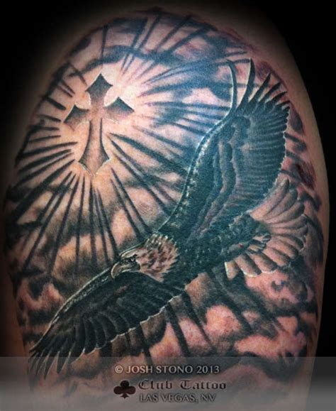 joshstono eagle black and grey cross religious