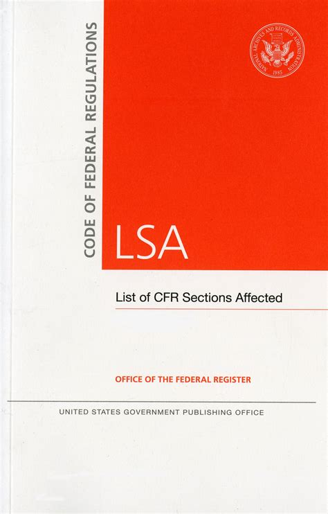 list of sections affected code of federal regulations lsa list of cfr sections