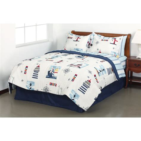 lighthouse nautical comforter sheets sham skirt set dorm