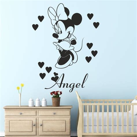 name on bedroom wall 3 sizes minnie mouse with personalised name wall sticker