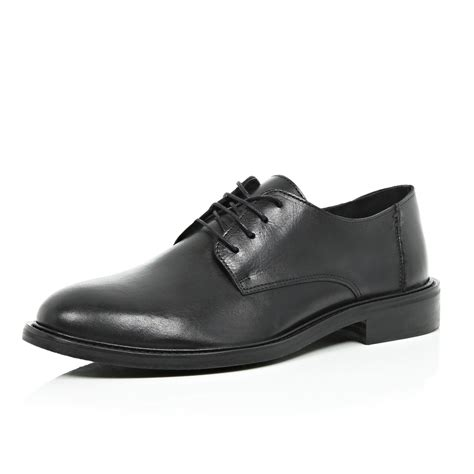 river island black polished formal shoes in black for