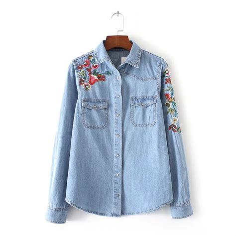 Tunic Blouse Denim Colour blue cotton floral boyfriend denim shirt blouse