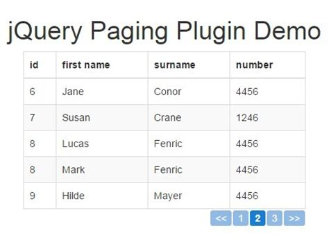 bootstrap table pagination jquery table pagination plugin free jquery plugins