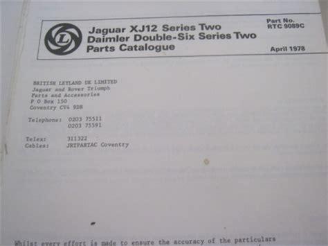 Jaguar Xj12 Series 2 Parts Catalog Rtc9089c
