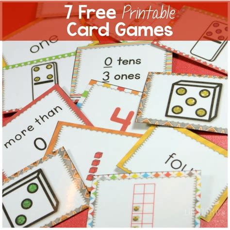 printable numbers matching game 7 free card games for counting to five and much more