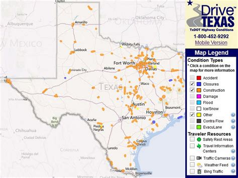 texas road condition map txdot traffic map my