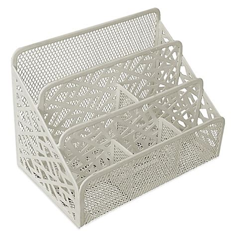 white metal desk organizer buy stix metal desk organizer in white from bed bath beyond