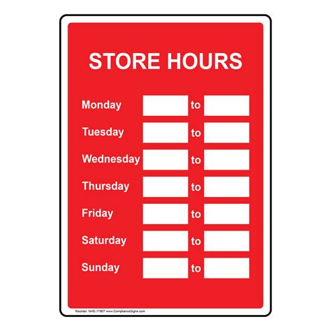 Store Hours Custom Sign Nhe 17907 Dining Hospitality Retail Hours Template