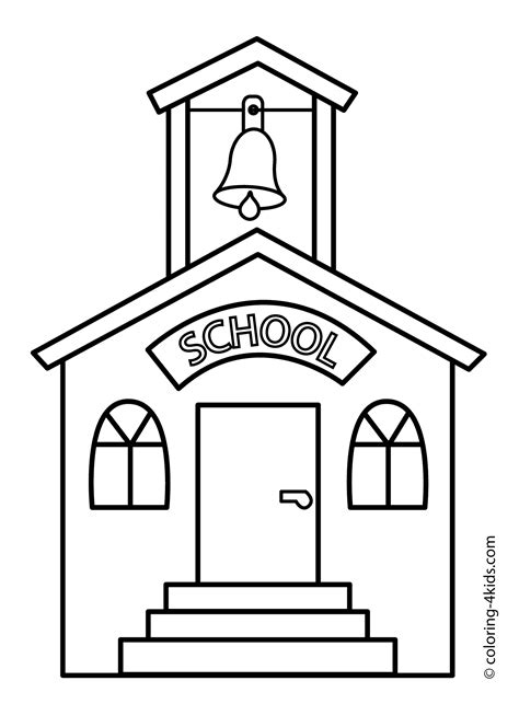 Coloring Page School Building | school building printable coloring pages