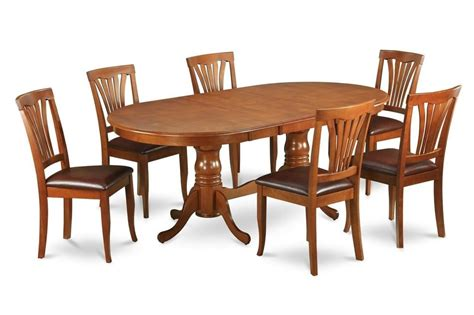 Oval Dining Room Table Sets 7 Pc Oval Dinette Dining Room Set Table W 6 Leather Seat Chairs In Saddle Brown Ebay
