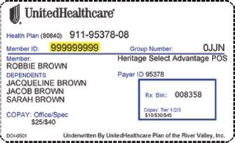 health insurance id card template united healthcare card policy number listmachinepro