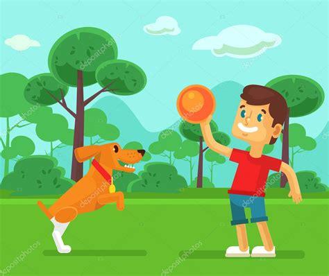 imagenes de niños jugando con un perro ni 241 o jugando con perro lindo ilustraci 243 n de dibujos