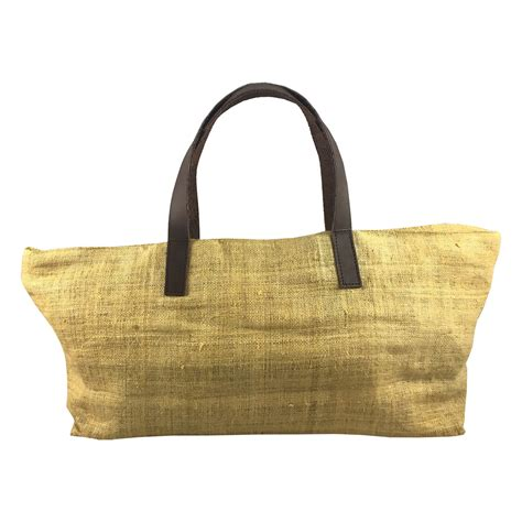 Thailand Bag yellow hemp handbag from thailand with brown cow leather
