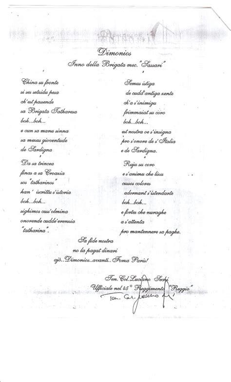 brigata sassari testo testo dimonios con firma originale ten colonnello